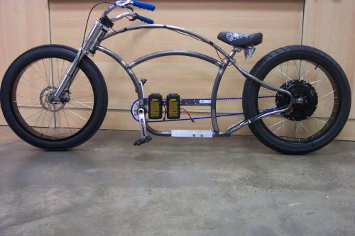 Custom made frame with off the shelf bicycle parts with for Custom motorized bicycles parts
